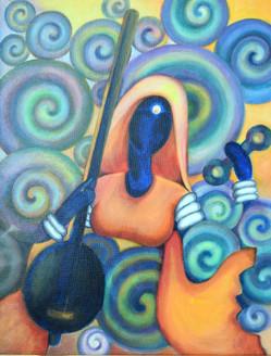 Meera (ART_2442_22078) - Handpainted Art Painting - 16in X 20in (Framed)