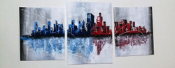 Shades of City (ART_3265_21692) - Handpainted Art Painting - 25in X 13in