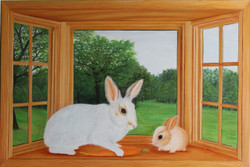 Rabbit and Bunny on Window (ART_976_20107) - Handpainted Art Painting - 36in X 24in