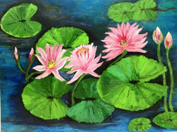 Waterlily - 28in X 22in,ART_VASH06_2822,Artist Vibha Singh,Flower,Floral - Buy Paintings Online in India.