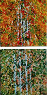Trees in Season (ART_1302_22109) - Handpainted Art Painting - 6in X 6in (Framed)