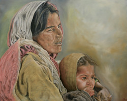 Mother and child (ART_3116_20969) - Handpainted Art Painting - 30in X 24in