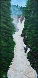 Gushing Waters (8x16) (ART_1302_3365) - Handpainted Art Painting - 9in X 9in (Framed)