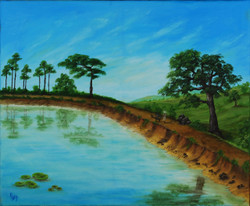 The Old Route (16x20) (ART_1302_3364) - Handpainted Art Painting - 20in X 16in