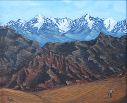 Mountain Majesty-Himalaya 12x10 (ART_1302_3058) - Handpainted Art Painting - 13in X 11in (Framed)