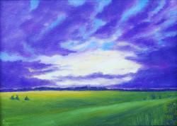 Violet Sky 10x14 (ART_1302_2886) - Handpainted Art Painting - 14in X 10in (Framed)