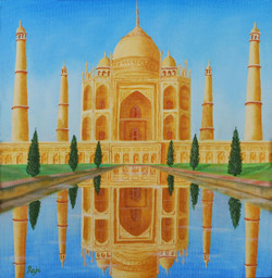 Taj Mahal 12x12 (ART_1302_2885) - Handpainted Art Painting - 13in X 13in (Framed)