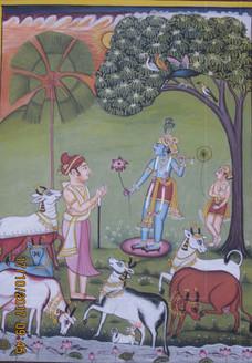 Gop and Krishna (ART_3316_22175) - Handpainted Art Painting - 7in X 11in