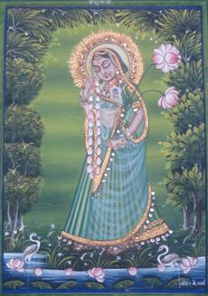 Radha (ART_3316_22169) - Handpainted Art Painting - 6in X 9in