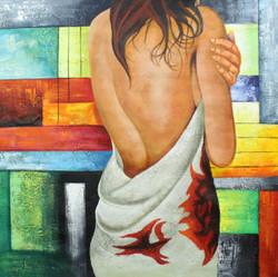 Beautify 3 (ART_1522_22159) - Handpainted Art Painting - 12in X 16in