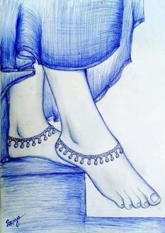 Foot (ART_3389_22416) - Handpainted Art Painting - 16in X 12in