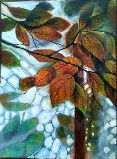 Autum leaves (ART_1968_22417) - Handpainted Art Painting - 9in X 12in