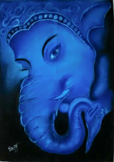 Lord ganesh (ART_3389_22394) - Handpainted Art Painting - 36in X 24in