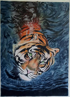 Tiger (ART_3365_22280) - Handpainted Art Painting - 23in X 31in