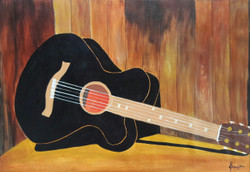 Love for Guitar (ART_3440_22607) - Handpainted Art Painting - 28in X 20in