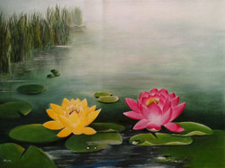 Two water lillies (ART_57_22555) - Handpainted Art Painting - 28in X 20in