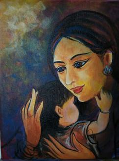 Motherhood (ART_3505_22833) - Handpainted Art Painting - 12in X 12in
