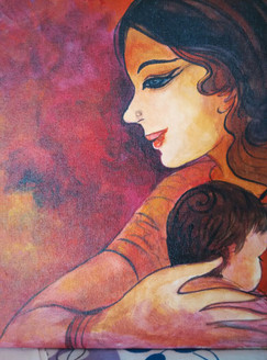 Mother (ART_3505_22832) - Handpainted Art Painting - 12in X 12in