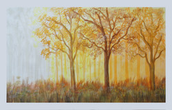 Nature in winter Morning inside Forest(22 x 14) (ART_325_6332) - Handpainted Art Painting - 22in X 14in