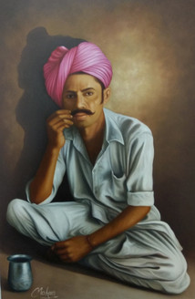 Rajasthani Man (ART_1090_23046) - Handpainted Art Painting - 24in X 36in