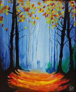 Walk in the forest (ART_3416_23081) - Handpainted Art Painting - 10in X 12in