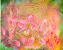 Lotus Pond (ART_3393_23248) - Handpainted Art Painting - 33in X 27in