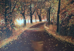 A beautiful path in a deep forest (ART_3377_23292) - Handpainted Art Painting - 36in X 24in (Framed)