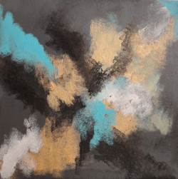 Abstract - Grey Gold Teal Blue (ART_1784_23398) - Handpainted Art Painting - 12in X 12in (Framed)