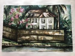 Riverside house in a village (ART_3639_23470) - Handpainted Art Painting - 20in X 14in