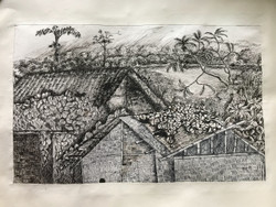 Bamboo house in a village (ART_3639_23466) - Handpainted Art Painting - 20in X 13in
