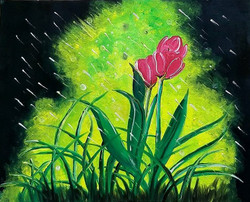 Flower on canvas (ART_3633_23500) - Handpainted Art Painting - 16in X 20in