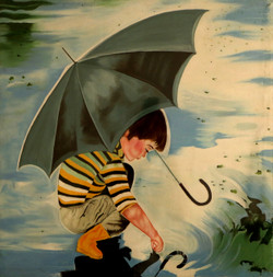 PLAYING BOY (ART_3570_23576) - Handpainted Art Painting - 10in X 10in