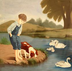 BOY  (ART_3570_23570) - Handpainted Art Painting - 10in X 10in