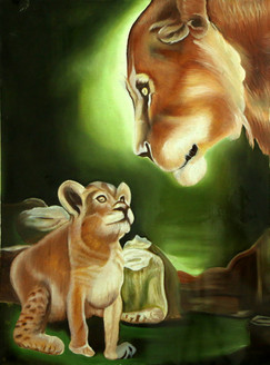 LION (ART_3570_23562) - Handpainted Art Painting - 8in X 10in