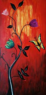Flowers (ART_3690_23660) - Handpainted Art Painting - 12in X 24in