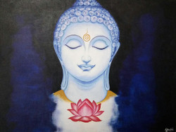 Buddha (ART_3604_23654) - Handpainted Art Painting - 24in X 18in (Framed)