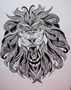 Abstract lion (ART_3604_23652) - Handpainted Art Painting - 11in X 16in