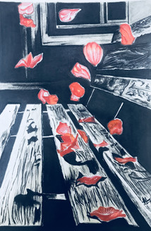Flower showers (ART_3617_23650) - Handpainted Art Painting - 10in X 15in