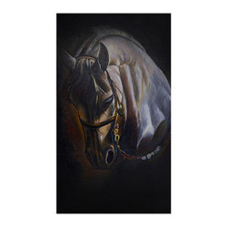 The Horse Still Painting (ART_3689_23647) - Handpainted Art Painting - 32in X 56in