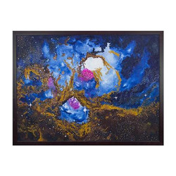 Collage of galaxies including Milky way and million of stars (ART_3689_23645) - Handpainted Art Painting - 39in X 51in