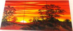 Jungle Safari - 60in X 28in (20in X 28in X 3pcs),ART_PIJN64_6028,Multipiece,Acrylic Colors,Artist Pallavi Jain,Museum Quality - 100% Handpainted,Jungle,Elephant ride,Wild Safari,Buy Paintings Online in India