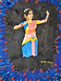 Bharatnatyam (ART_3586_23621) - Handpainted Art Painting - 12in X 16in