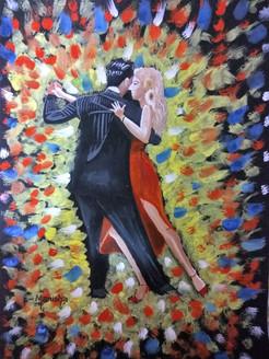 Couple Dance (ART_3586_23582) - Handpainted Art Painting - 16in X 12in