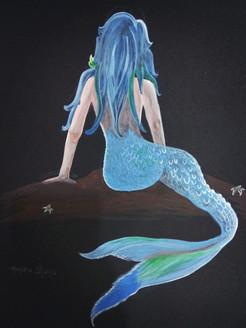 Waiting Mermaid (ART_3586_23240) - Handpainted Art Painting - 12in X 17in
