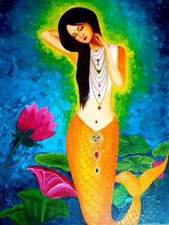 A mermaid (ART_3548_23694) - Handpainted Art Painting - 14in X 18in