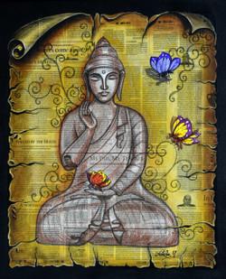 Nirvana Embodied (ART_3682_23686) - Handpainted Art Painting - 20in X 24in