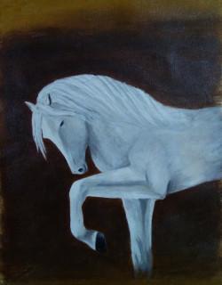 White Horse (ART_3012_23683) - Handpainted Art Painting - 14in X 16in