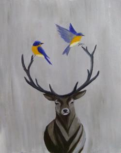 Deer and two birds (ART_3012_23679) - Handpainted Art Painting - 12in X 14in