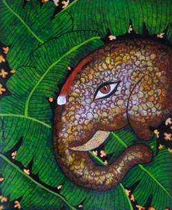 Gaja 15 (ART_1397_23690) - Handpainted Art Painting - 16in X 20in