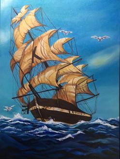 Sailing far away (ART_3675_23672) - Handpainted Art Painting - 18in X 24in